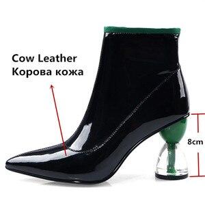 Image 3 - Fedonas nova moda feminina sapatos outono inverno tornozelo botas de couro genuíno botas chelsea apontou toe saltos altos sapatos de festa mulher