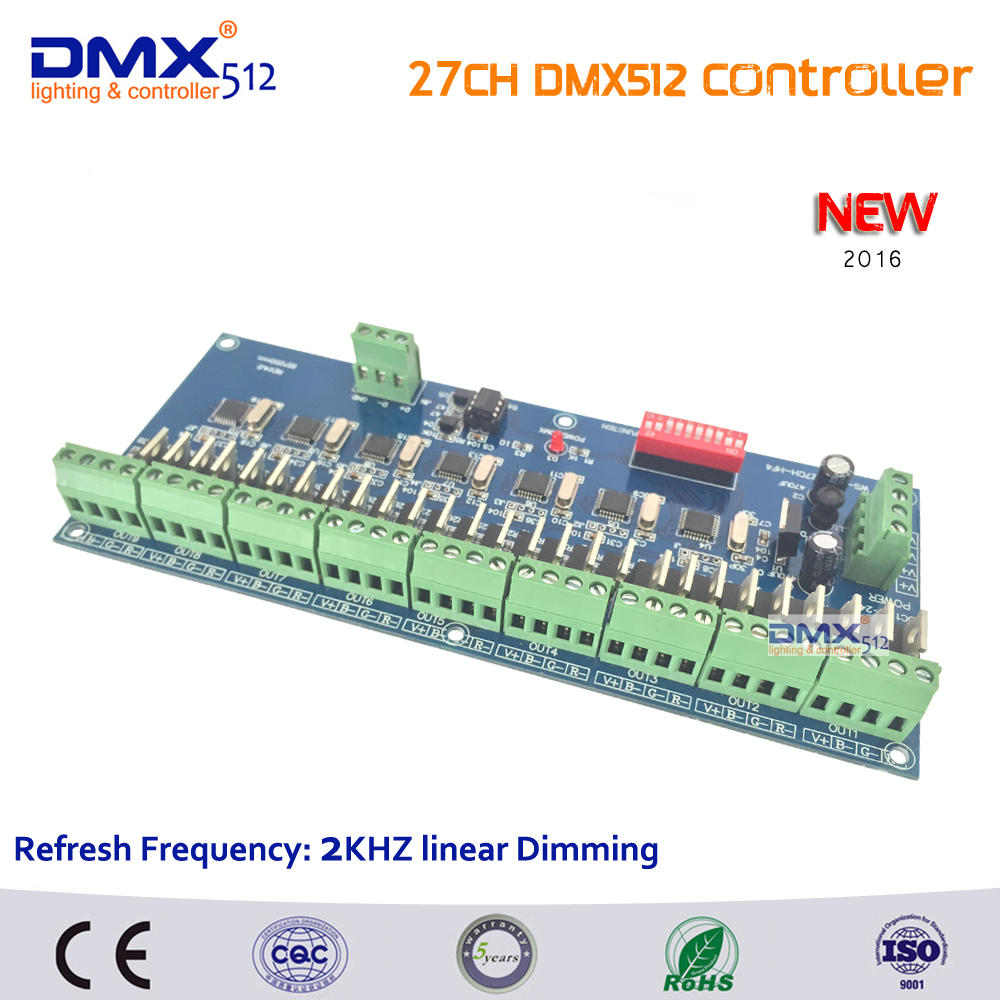 DHL Free shipping New Arrivals 5pcs 27 channel dmx512 decoder, each output linear dimming, 27CH DMX controller 2years Warranty free shipping 5pcs lot nce7190 71v 90a n channel electric vehicle controller dedicated mos transistor inverter new original