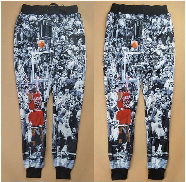 2016 hombres de La Manera 3D Basculador Baskeball Star Jordan Impreso Pantalones de Los Hombres de Hip Hop Pantalones Pantalones Harem Ocasional