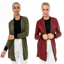 HQ Solid Color Simple and Stylish Jacket Female Autumn and Winter Long Section of Small Casual  Cool Brief Coat Jacket NXH2218