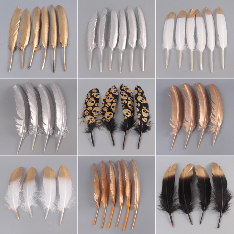 10pcs Newest Double Side Gold Color Goose/Duck Feathers Decoration Plume diy Silver feathers ...