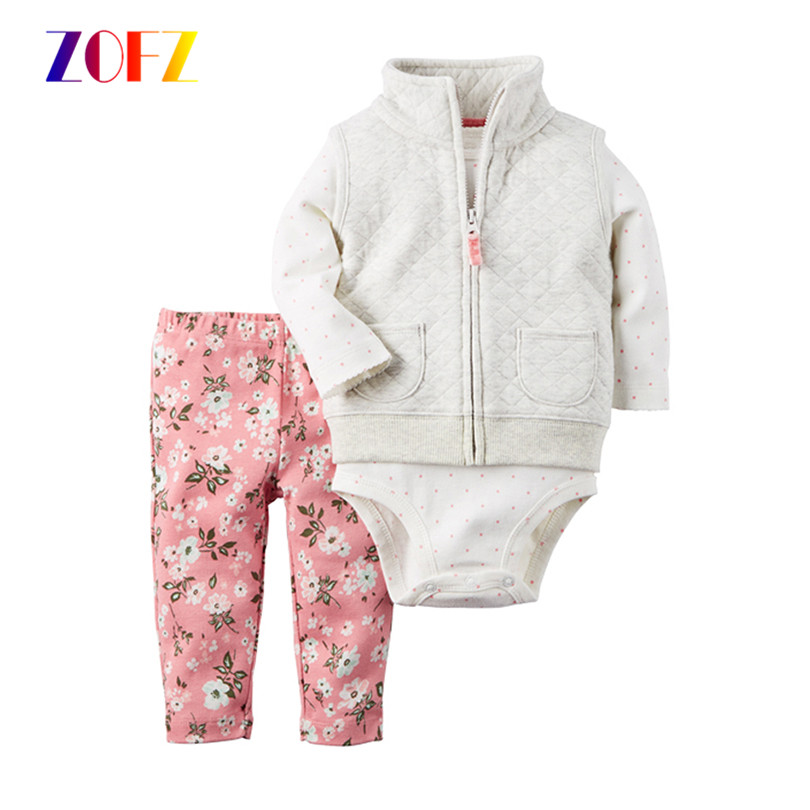 ZOFZ 3 pieces baby girl outfits 2017 new fashion O-neck normal size baby girl clothing print cotton regular infant girl suit set палатка normal виктория 3