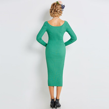 Sisjuly Autumn Women Retro Knitted Fabrics Green Bodycon Sheath Sweater Dresses Mid Calf Party Dress O Neck Collar Dresses