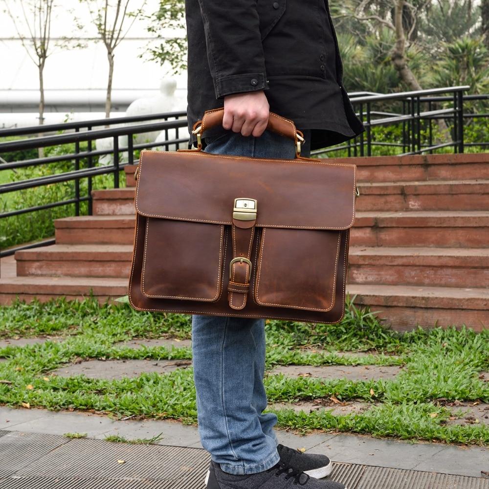 HTB1RUhCQNTpK1RjSZFMq6zG VXac MAHEU Luxury Fashion 100% Genuine Leather Men Briefcase Cow Leather Laptop Bag Vintage Shoulder Bag Real Cowhide Computer Bag