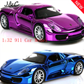 Free Shipping 1:32 911 Sports Car Metal Alloy Diecast Toy Car Model Miniature Scale Model Sound and Light Emulation Electric Car