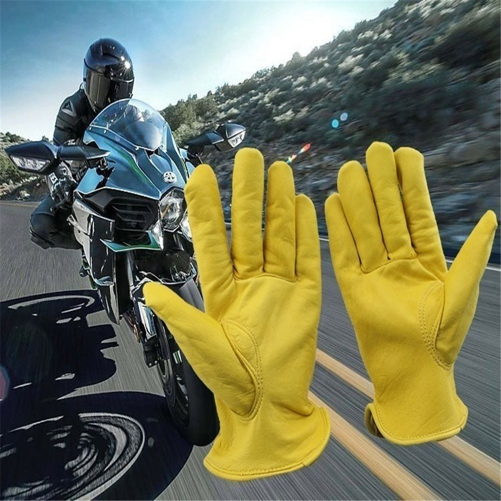 1 Pair Vintage Goat Leather Motorcycle Bicycle Gloves Yellow Universal Anti-slip Scooter Work Hunting Full Finger Gloves New