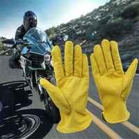Neue Hohe Qualität Ziege Leder Rindsleder Sport Racing Motorrad Handschuhe Arbeit Handschuhe Gelb Ski Wandern Warme Handschuhe für Männer