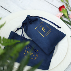 Image 4 - 100 Flannel Jewelry Pouches Custom Personalized Logo Navy Blue Jewelry Packaging Velvet Drawstring Gift Bag for Wedding Party