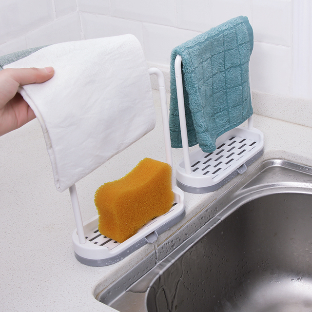 New Hanging Sponge Holder Kitchen Sink Organizer Towel Rack Stand Bathroom Accessories Hanger Counter Storage Wash Clothe