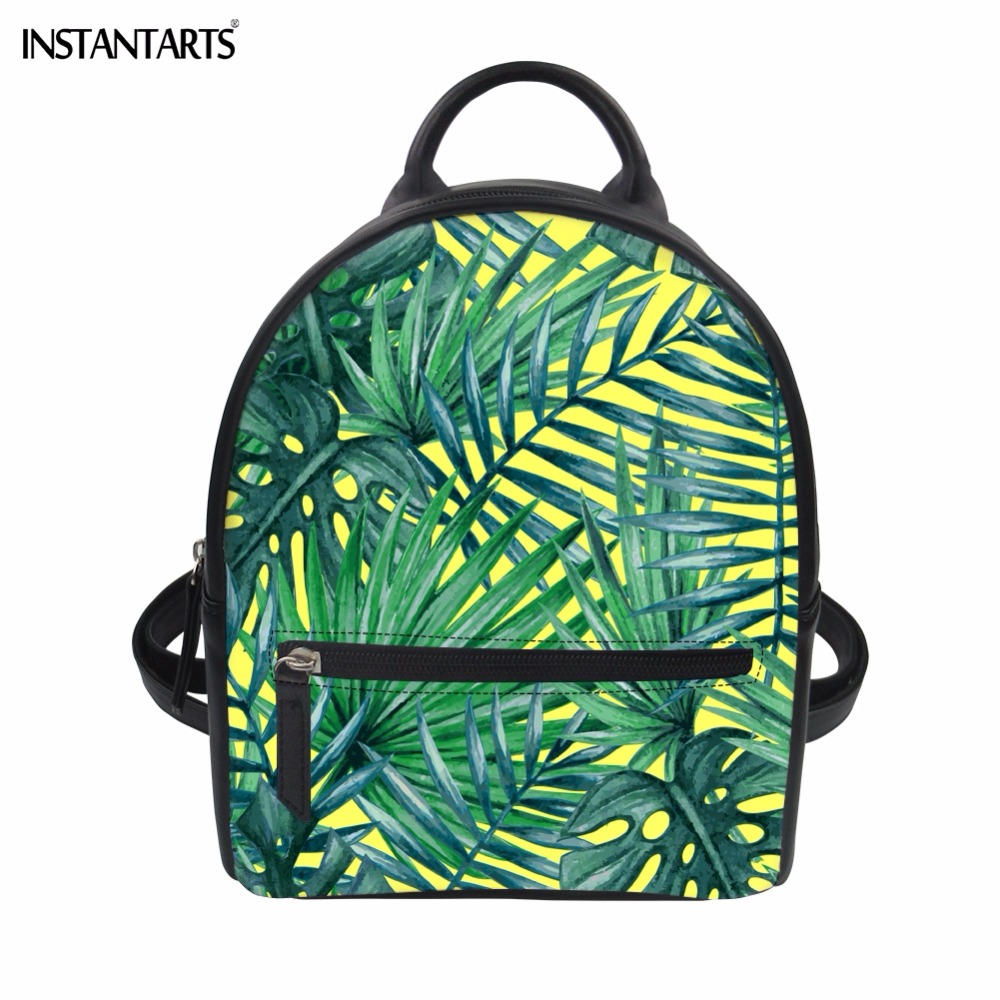INSTANTARTS Tropical Rainforest Green Leaves Print Women Mini PU Leather Backpacks Fahsion Teen Girls Korean Version Rucksacks