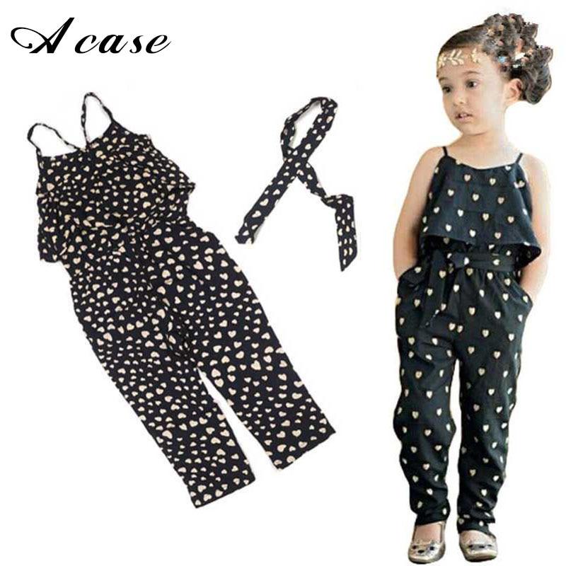 2018 Little Girls Clothes Kids Harness Heart-shaped Onepiece Belt Clothing Children Summer Jumpsuit Costume 2 3 4 5 6 7 Years