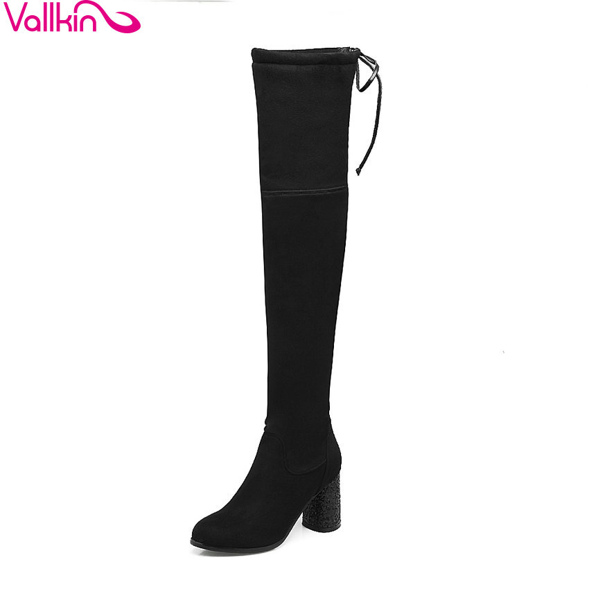 VALLKIN 2018 Lace Up Women Boots Rhinestone Square High Heel Over The Knee Boots Stretch Fabric Wedding Ladies Boots Size 34-43 vallkin 2018 lace up women boots rhinestone square high heel over the knee boots stretch fabric wedding ladies boots size 34 43