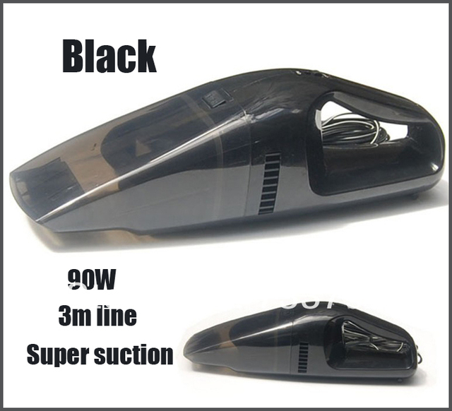 Brand New 90W Super Suction Mini 12V High-Power Wet and Dry Portable Handheld Car Vacuum Cleaner Black Color Free Shipping