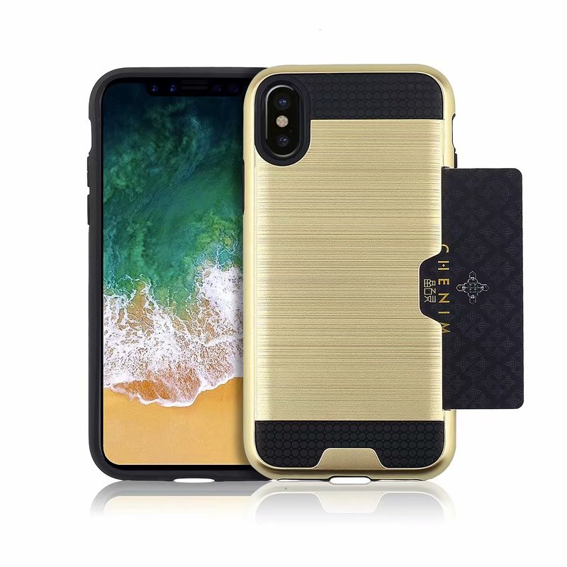 For <font><b>Iphone</b></font> X XR XS Max Luxury Rugged Silicone Hybrid Tough Wallet Armor PC + TPU <font><b>Case</b></font> <font><b>Iphone</b></font> 5 5s SE 6 6S 7 8 Plus Cover Coque image