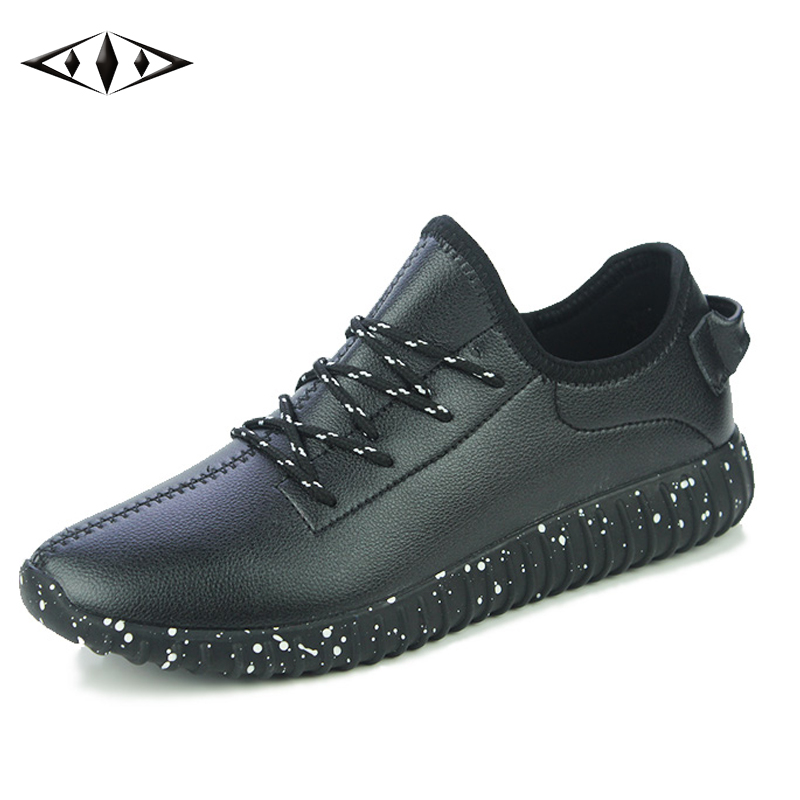 LEMAI Leisure Men Running Shoes Autumn Spring Outdoor Sport For Runner Athletic Sneakers Boy Leather Shoes Rubber Sole 7011-1