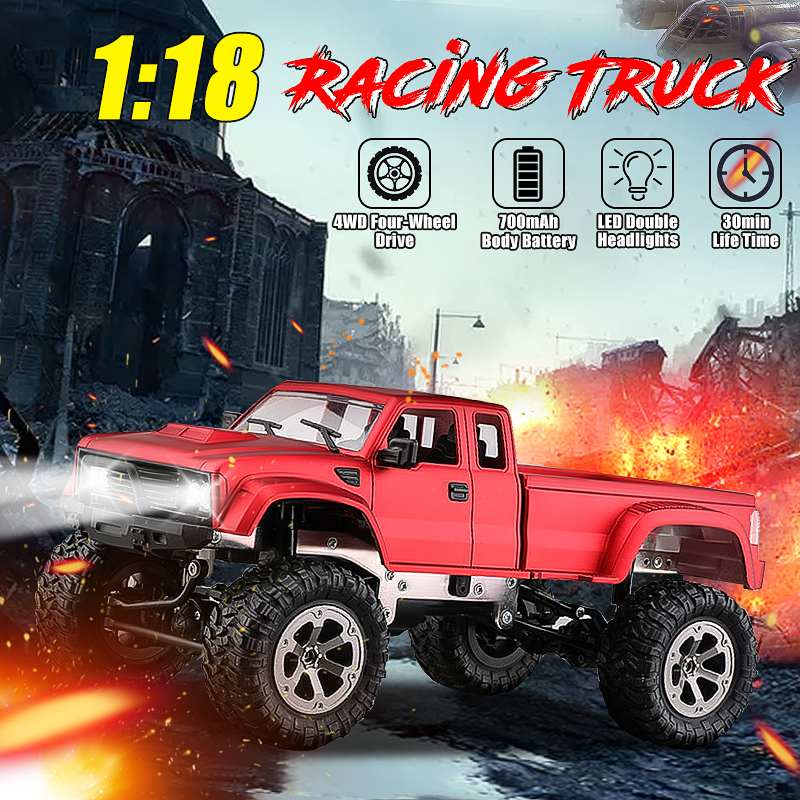 Voiture chaude RC 2.4 ghz 1:18 voiture télécommandée monstres électriques camion 4WD quatre roues véhicule tout-terrain rouge/bleu