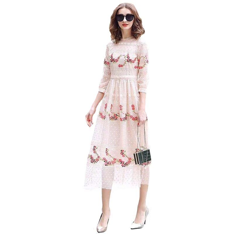 2019 Estate Elegante Maglia Embriodered Lungo Vestito Da Partito Del Vestito 190412XM02-in Abiti da Abbigliamento da donna su  Gruppo 1