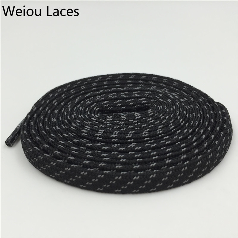 Weiou Ny 3M Flat Laces Polyester Farverige Bootlaces Black Shoelaces Reflekterende Sko Laces Cross Grain Latchet Til Løber 350 750