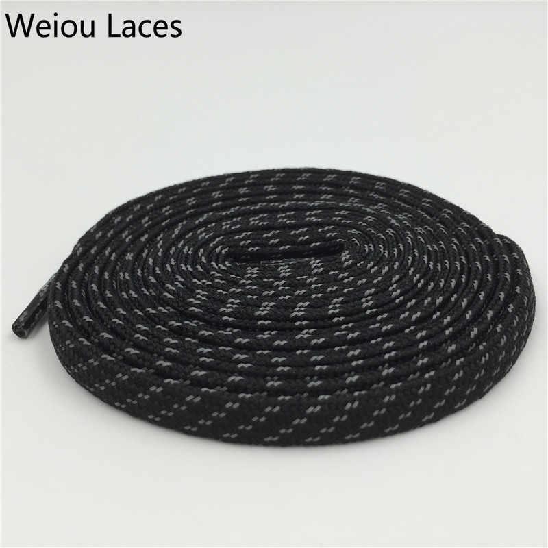 Weiou Yeni 3 M Düz Danteller Polyester Renkli Bootlaces Siyah Ayakabı Yansıtıcı Ayakkabı Bağcıkları Çapraz Tahıl için Latchet botları 350 750
