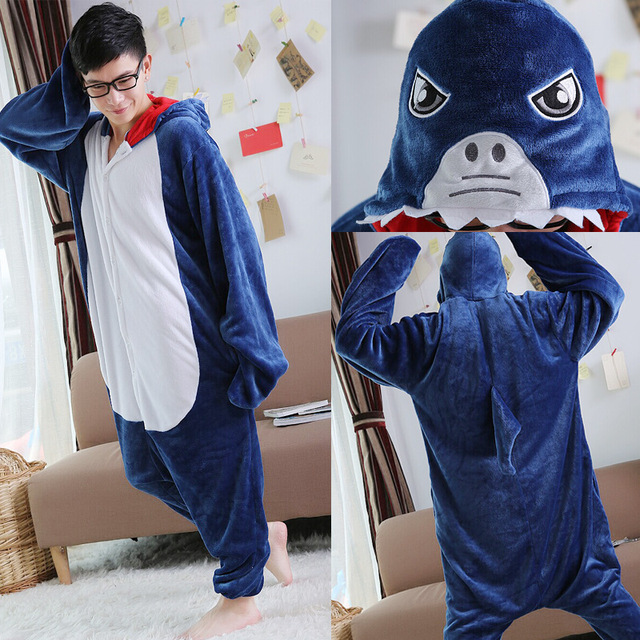 Lovers Couples Cute Halloween Unisex Animal Shark Pajamas Adult