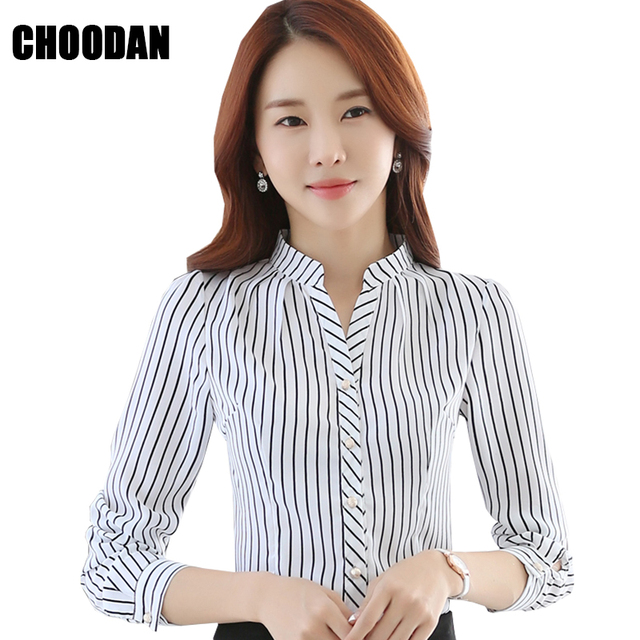 de37300252c Шифон белый черный в полоску блузка рубашка с длинным рукавом корейский  стиль Для женщин рубашки