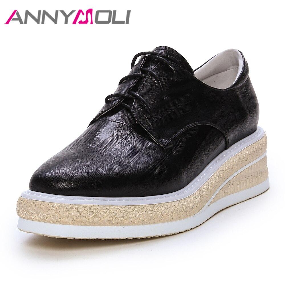ANNYMOLI femmes chaussures talons hauts naturel en cuir véritable plate-forme talons compensés chaussures en peau de mouton chaussures à lacets dames rose taille 4-10