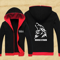 Hot New American Game Of Thrones House Stark Hoodie Logo Winter Fleece Mens Sweatshirts Black Red