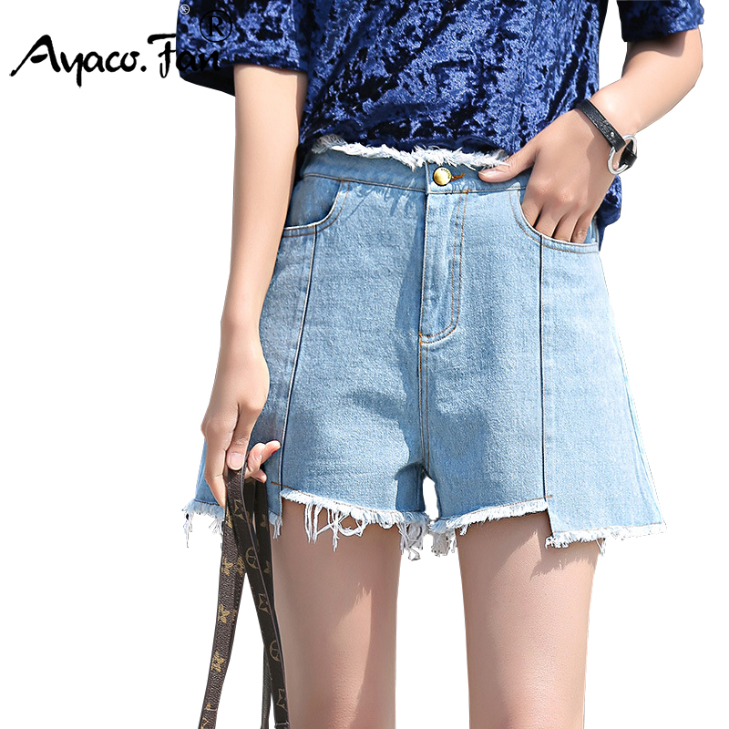 Summer 2017 High Waist Women Shorts Female Casual Loose Straight Denim Short Wide Leg Pants Students Elastic Hot Jeans Shorts 1pcs 100