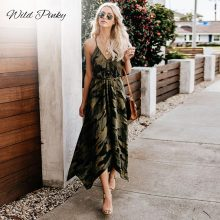 WildPinky 2019 New Summer Fashion Women Sexy Strap Backless Dress Casual Camouflage Military V-Neck Print Midi Long Dresses