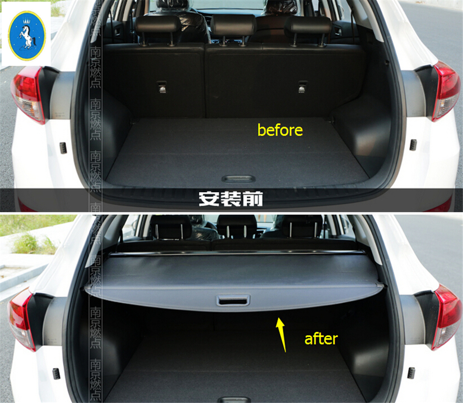 Yimaautotrims accessoire Auto queue arrière hayon coffre sécurité ombre bouclier Kit de couverture adapté pour Hyundai Tucson 2016 2017 2018