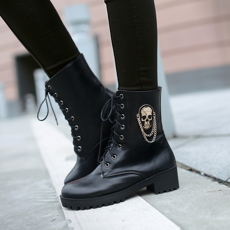 Image 3 - MORAZORA 2019 hot sale ankle boots for women skull street lace up platform women's boots fashion ladies autumn winter boots shoe-in Ankle Boots from Shoes
