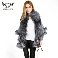 BEIKALIDI Women Real Cashmere Shawl Skirt Design Real Fox Fur Collar Coat Natural Fur Trim Women's Winter Jacket Women Outwear