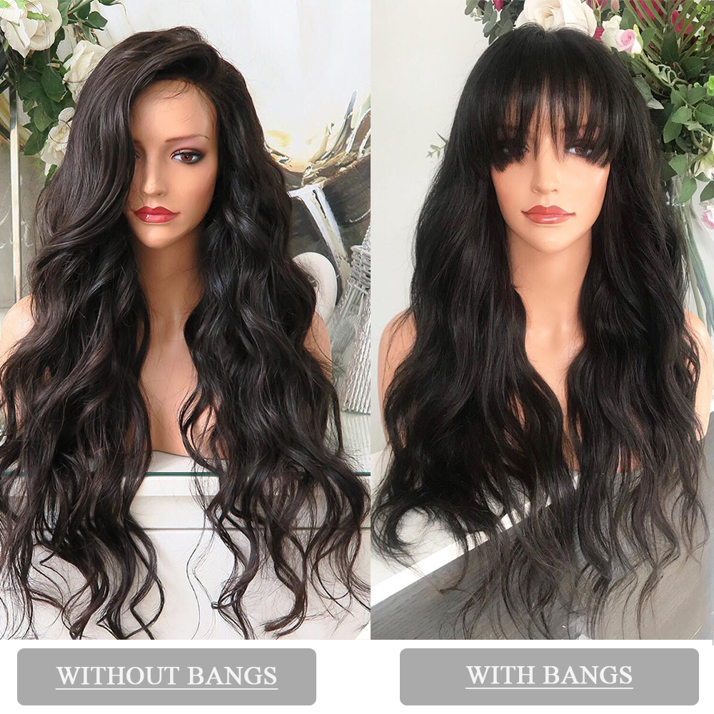 Image 4 - 13x6 Lace Front Human Hair Wigs Brazilian Body Wave Wig With Bangs 360 Lace Frontal Wig Pre Plucked With Baby Hair CARA Remy-in Human Hair Lace Wigs from Hair Extensions & Wigs