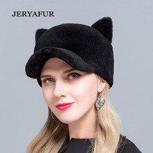 66794a6ef3f JERYAFUR 2018 Hot sale new fur baseball cap cat ears sheep fur hat wool ladies  hat