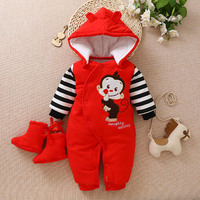 Send shoes+ Baby Winter Romper Cotton Padded Thick Newborn Baby Girl Warm Jumpsuit Autumn Fashion Baby's Wear Kid Climb Clothes