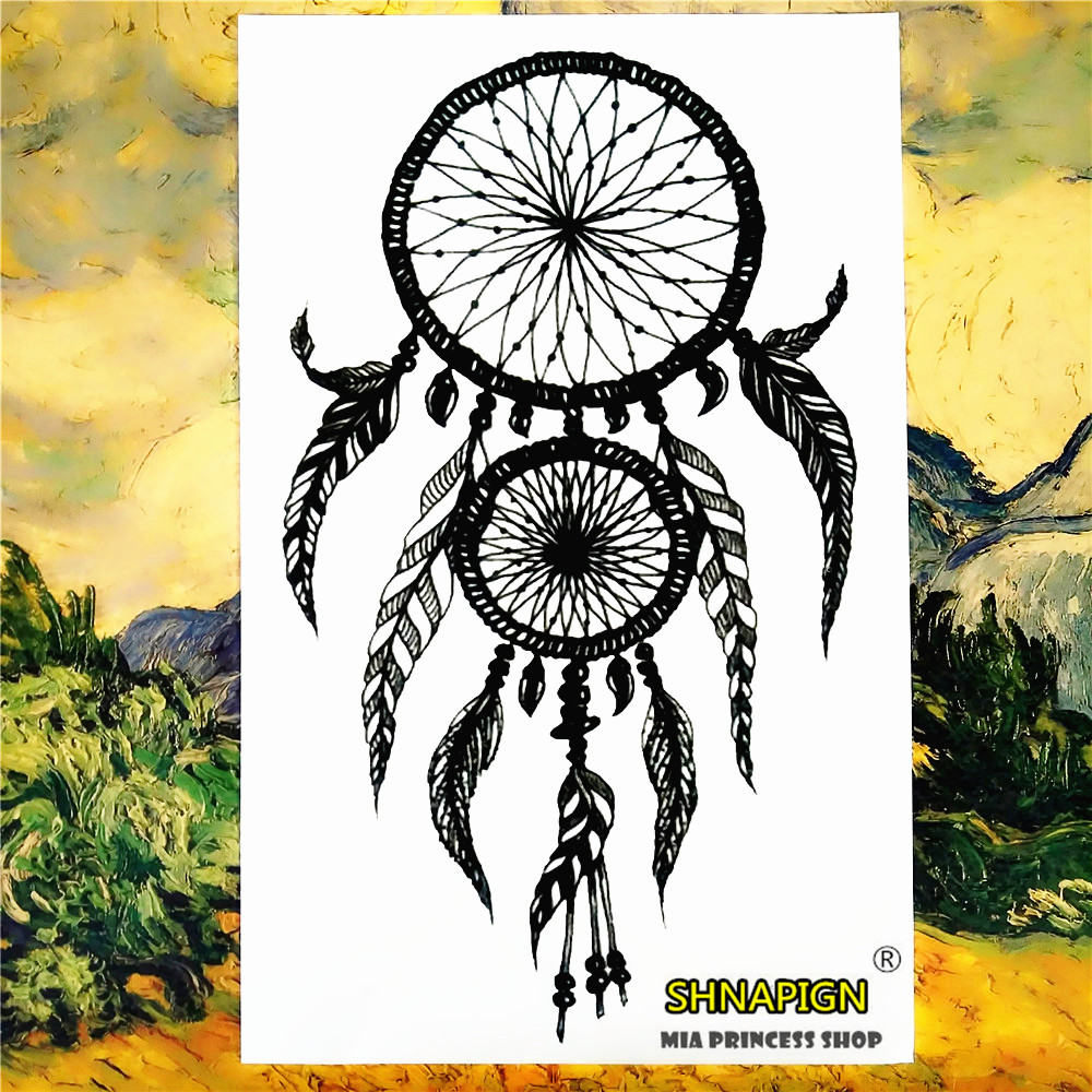SHNAPIGN Indian Feather Ring Temporary Tattoo Body Art Sleeve Arm Flash Tattoo Stickers 12*20 painless Henna selfie stickers