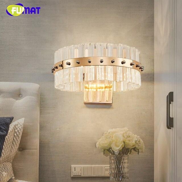 FUMAT Moderne Kurze Kristall Wandleuchte Wandleuchte Glanz Designer  Kreative Nacht Wohnzimmer Wand Lampen Warmweiß LED Wandleuchten