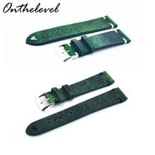 Onthelevel – bracelet de montre en cuir véritable, fait à la main, vintage, boucle de rechange, vert, 16 18 20 22 24 mm