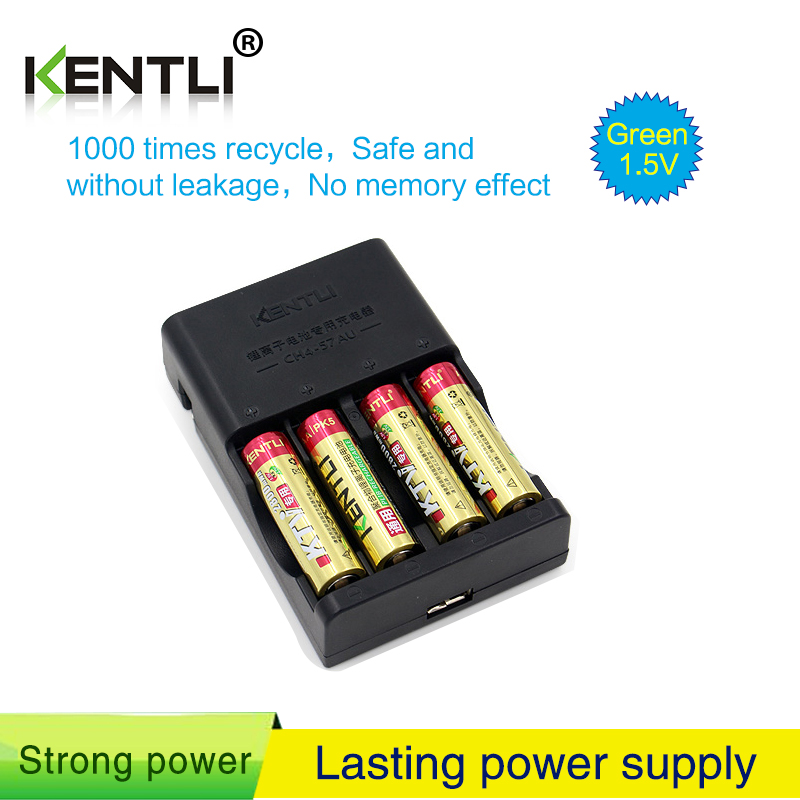 No memory effect 4pcs KENTLI 1.5V AA PK5 2800mWh rechargeable lithium li-ion <font><b>batterie</b></font>+ 4 slots AA <font><b>AAA</b></font> polymer lithium charger image