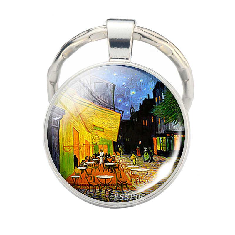 Стеклянный кабошон ручной работы купол Ван Гог Звездная ночь подвеска брелок искусстве брелок для ключей с цепочкой ювелирные рождения Рождественский подарок