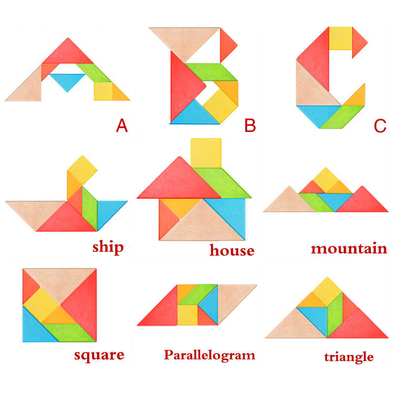 1 Set Baby Tangram Puzzles Wooden Toys For Children Kids