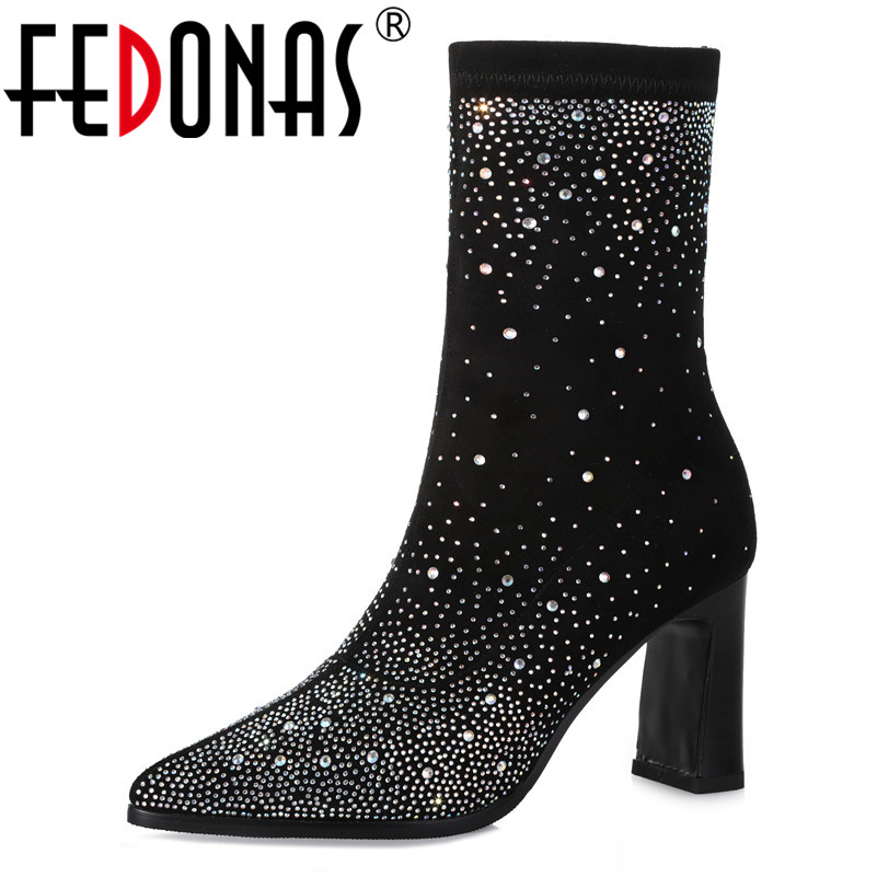 FEDONAS Sexy Women Mid-calf Boots Rhinestone Night Club Party Shoes Woman High Heels Prom Pumps Ladies High Strectch Boots women sexy prom night club black