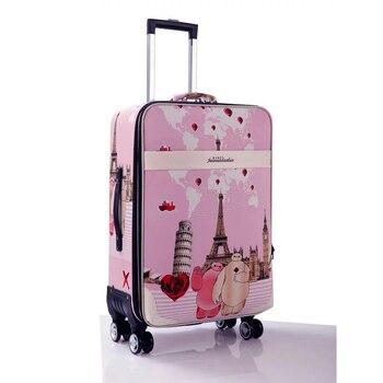 Kobiety Rainbow paski podróży przechowalnia Spinner mężczyźni toczenia torba na bagaż na koła studenci 20 24 Cal wózek walizka torba podróżna
