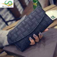 2016 New Hand Bag Wallet Purse Embossed Woven Long Hasp Female Bag Retro Fashion Fabric White