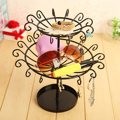 New Rotating Earrings Necklace Bracelet Jewelry Display Black Revolving Rack 28 Hooks Metal Stand Jewelry Showcase Organizer