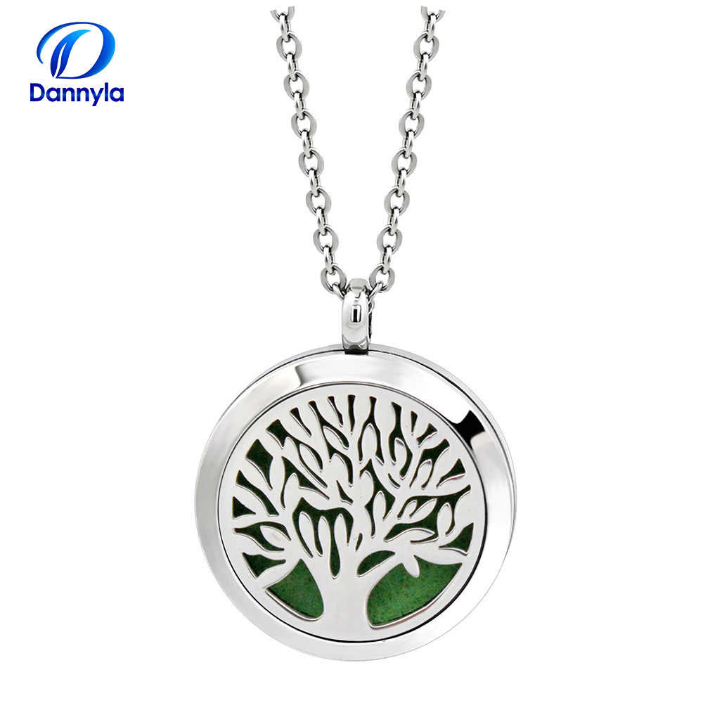 Round Essential Oil Diffuser Necklace Wholesale 30mm Stainless Steel  Aromatherapy Diffuser Pendant DLAR184-204
