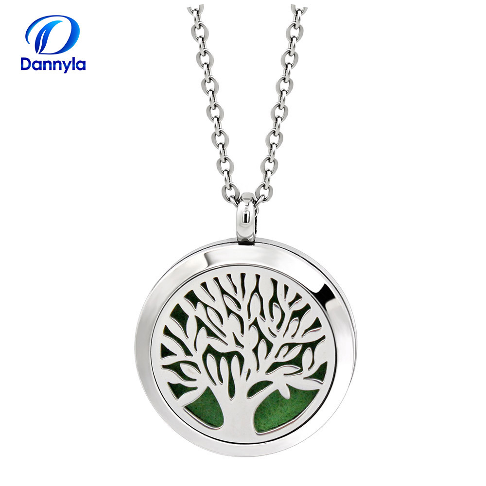 30mm Stainless Steel Pendant Necklace Aromatherapy Essential Oil Diffuser
