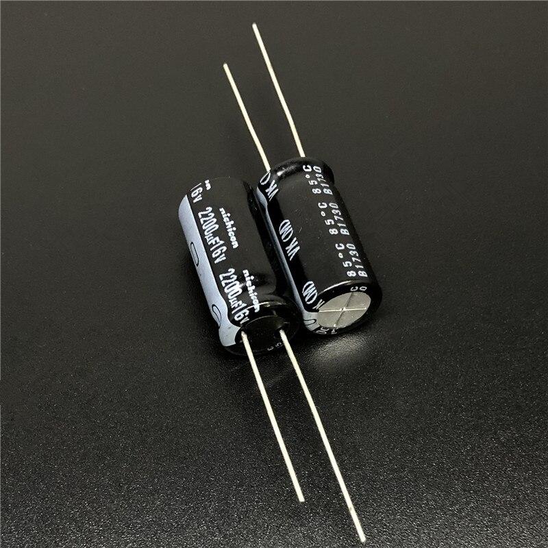 100PCS 2200uF 16V 105C Radial Electrolytic Capacitor 16V2200UF 10x20mm