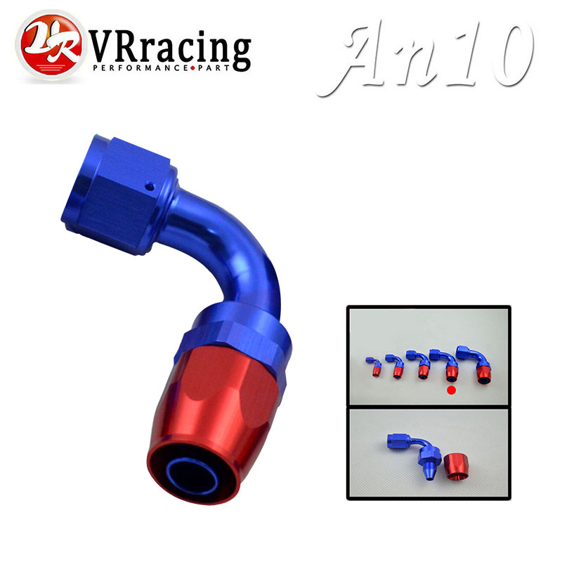 VR RACING - 10 AN AN-10 90 Degree Aluminum Swivel Hose End Fitting Adapter Oil Fuel Line VR-SL1090-10-311