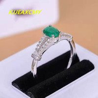 KJJEAXCMY natural emerald ring 925 silver inlaid gems wholesale natural ice green chalcedony